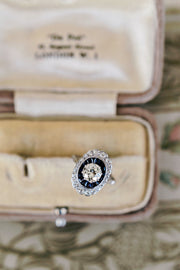1.07ct old European cut diamonds Sapphire And Diamond Double Halo Engagement Ring