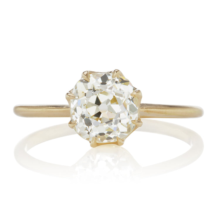 1.62ct old mine cut diamond 18k Yellow Gold Solitaire Engagement Ring