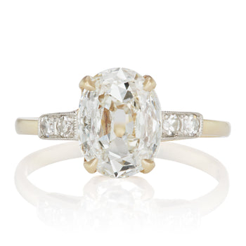2.01 Oval cut diamond Two Tone Oval Diamond Engagement Ring