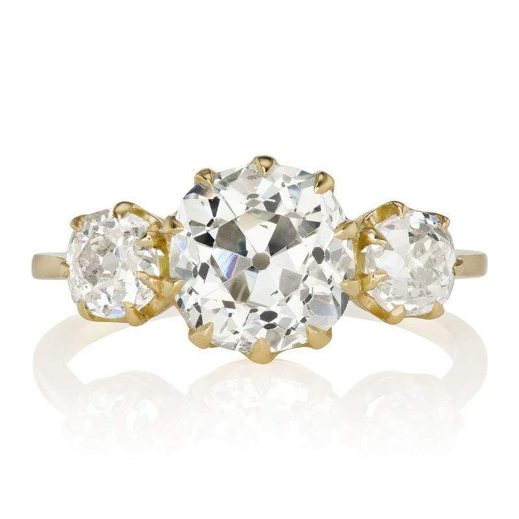 Three Stone Old Mine Cut Diamond Engagement Ring in Yellow Gold