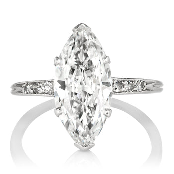 2.64ct Marquise Diamond Platinum Marquise Engagement Ring Circa 1920