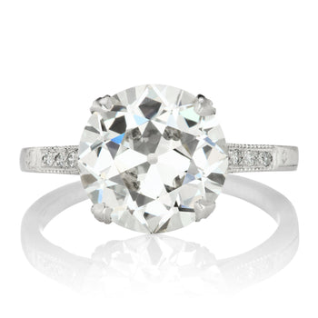 3.60ct old European cut diamond Vintage Diamond Engagement Ring With Milgrain