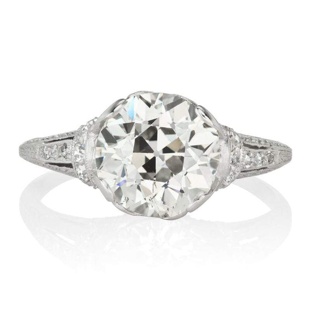 3.65ct Old European Cut Diamond Edwardian Engagement Ring