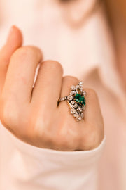Emerald Cocktail Ring Edwardian Cocktail Ring