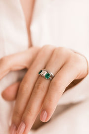 J.E. Caldwell Asscher Cut Diamond Engagement Ring With Emeralds