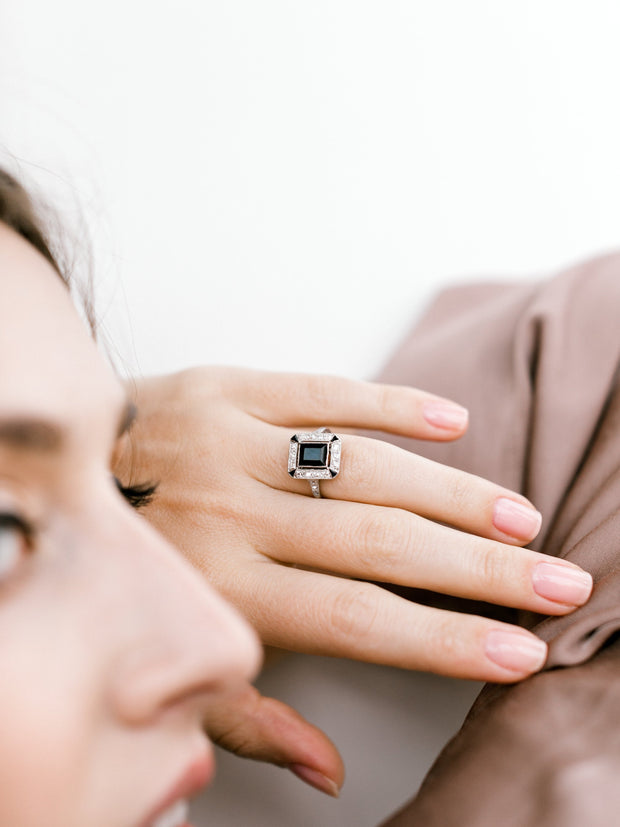Onyx + Diamond Ring
