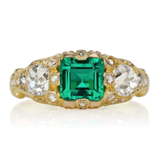 Low Profile Emerald & Diamond Engagement Ring