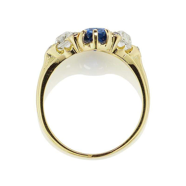 Antique Color Change Sapphire and Diamond Ring
