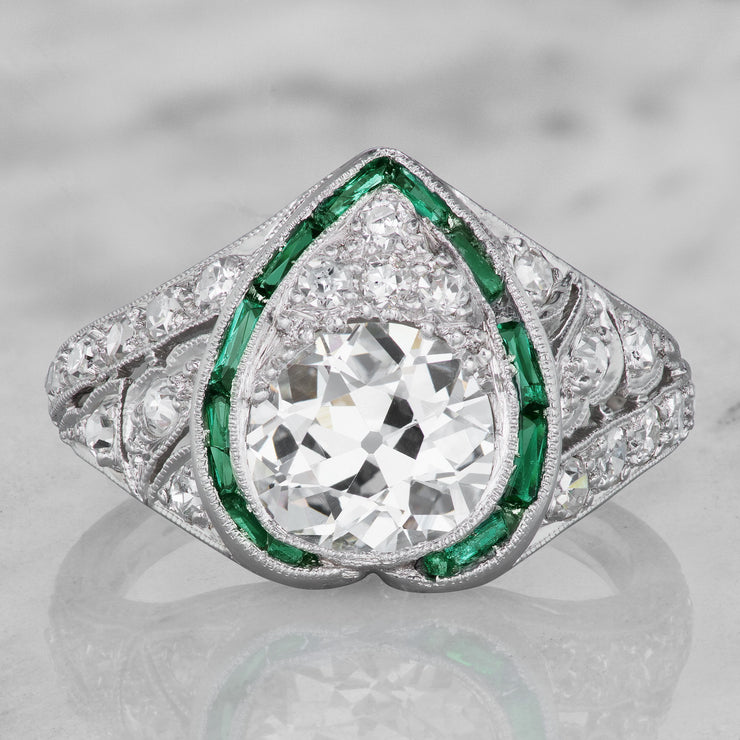 Vintage Heart Engagement Ring Diamond Amp Emerald Victor