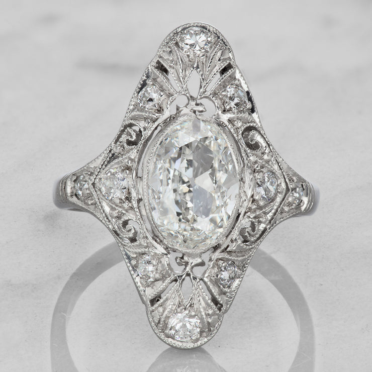 51eff81424 Vintage Oval Diamond Engagement Ring | Victor Barbone
