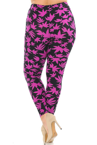 Magenta and Black Leaf Leggings