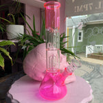 Neon Pink Double Perc Water Pipe