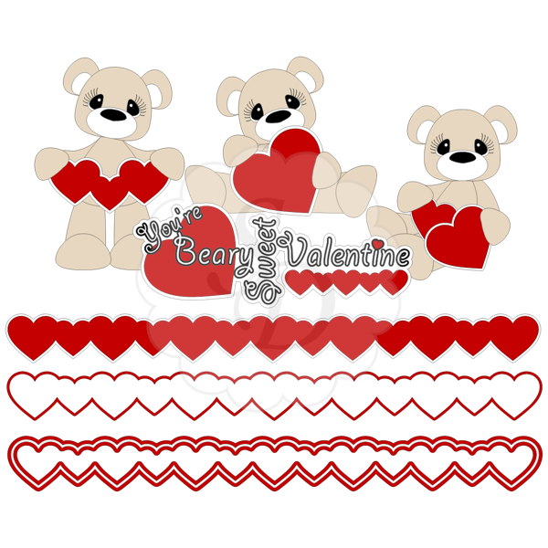 Valentine Bears Hearts