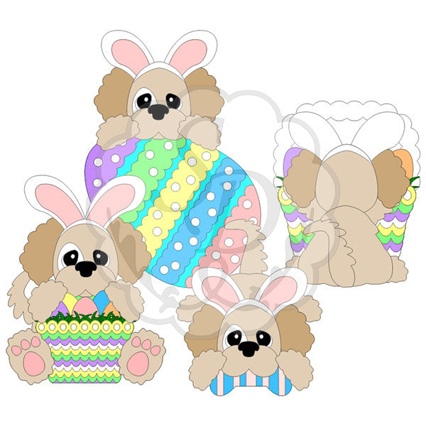 Easter Puppies with Baskets and Eggs
