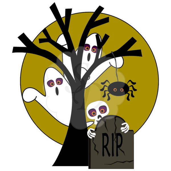 Ghosts, Spider, Tree, Tombstone