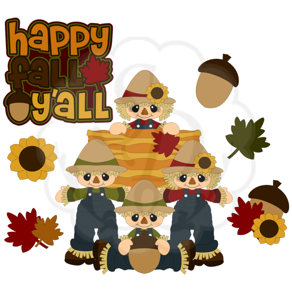 Fall Scarecrows, Acorn, Leaves, Haystack