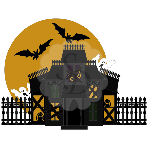 Haunted House, Ghosts, Fence, Moon, Bats