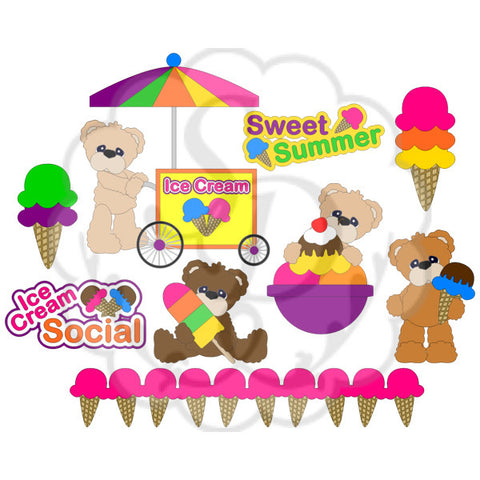 Bears with Ice Cream Cart, Cones, Popsicles, Bowl