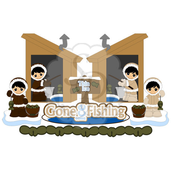 Ice Fisherman & Ice House, Fish, Ice