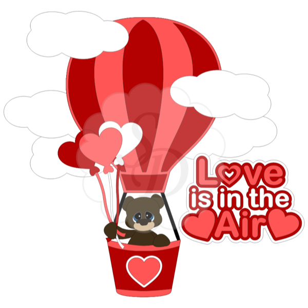 Bear in a Valentine Hot Air Balloon
