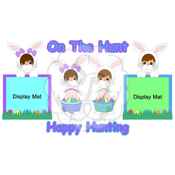 Kids in Bunny Costumes Hunting for Easter Eggs