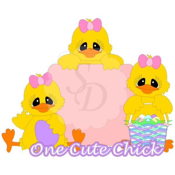 Cute Easter Chicks with Basket