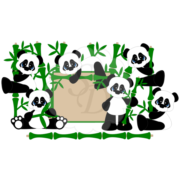 Panda Bears with Bamboo