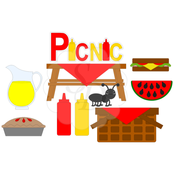 Picnic Supplies with Ant and Basket
