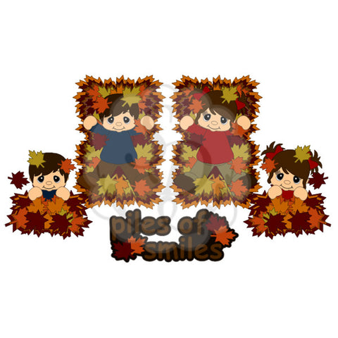 Boy and Girl in a Pile of Fall Leaves