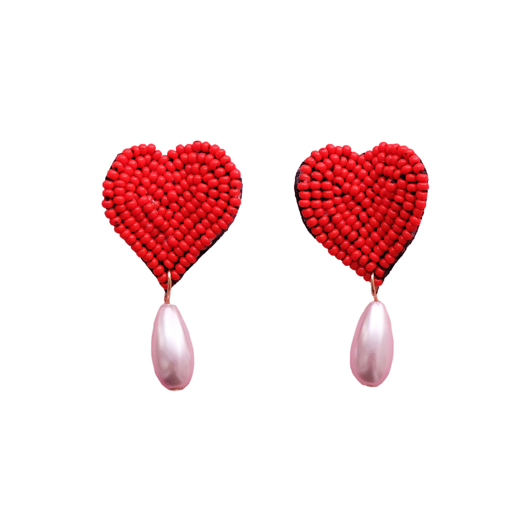 2D Heart Earrings