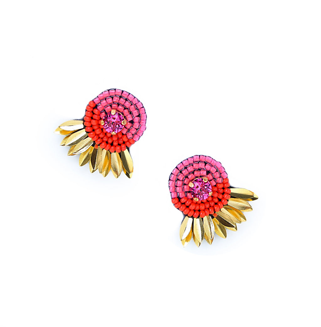 Athena Stud Earrings - Pink/Red