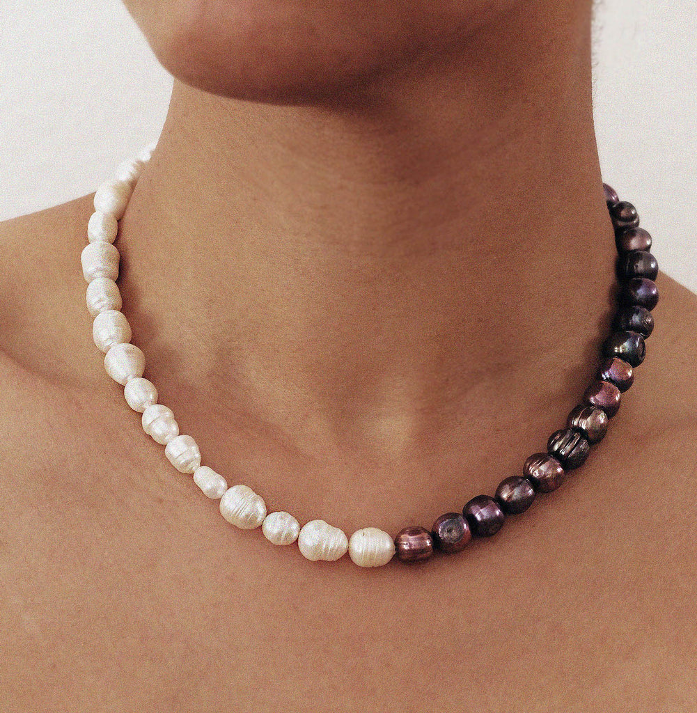 Sun and Shade Pearl Necklace