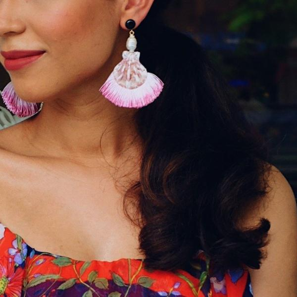 Shell Tassel Earrings -Ombré Pink