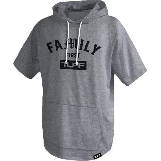 Family First Short Sleeve Hooded Tee S / Heather Gray TuffWraps.com