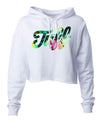 TUFF Palm Script Hooded Cropped Fleece XS / White TuffWraps.com