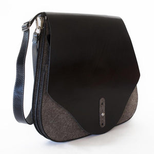 FLEX Messenger Bag – Grey with Black Leather-Rimanchik