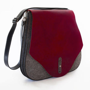 FLEX Messenger Bag – Grey with Red Leather-Rimanchik
