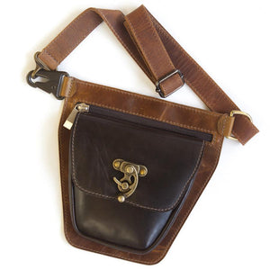 ROVER Leather Fanny Pack – Chocolate and Tan Brown-Rimanchik