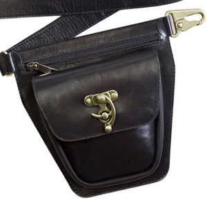 ROVER Leather Fanny Pack – Black-Rimanchik