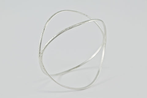 Colliding Waves Double Bangle - Argentium Silver or Gold