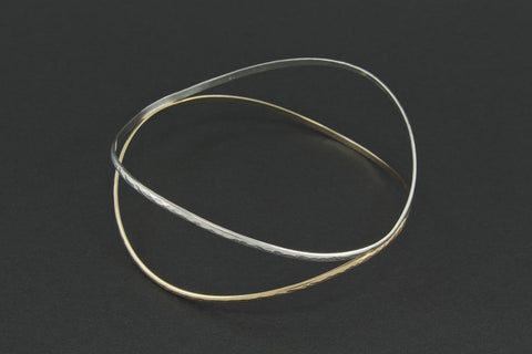 Colliding Waves Double Bangle - Two Tone