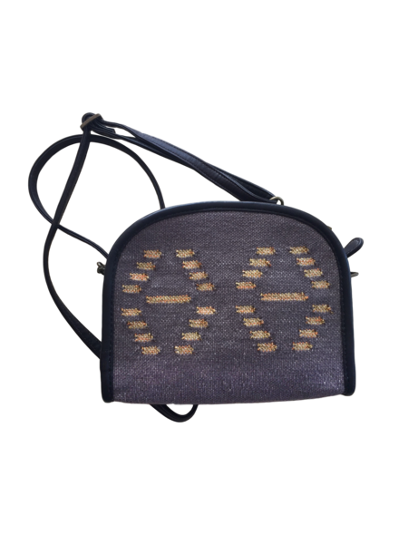 Hand Woven Purse in Charcoal and Gold