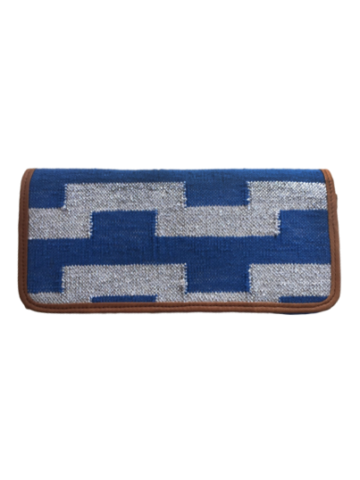 Hand Woven Clutch in Blue and Silver