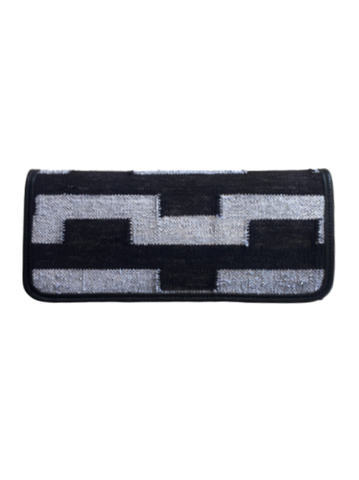 Hand Woven Clutch in Black and Silver