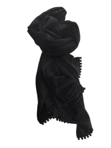 Cashmere Scarf with Ball Fringe in Black