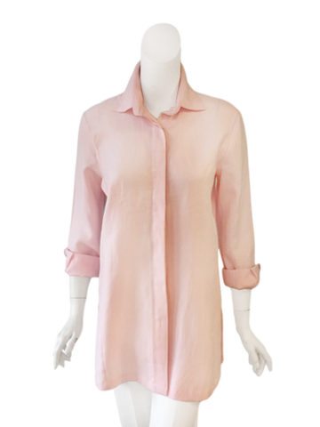 Charlotte Top in Pink Linen