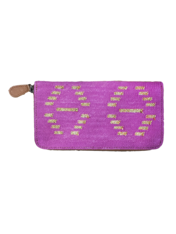 Hand Woven Wallet in Pink and Gold