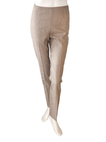 Long Linen Stretch Pant in Heather Khaki