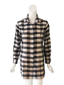 Charlotte Top in Silk - Black and White Plaid