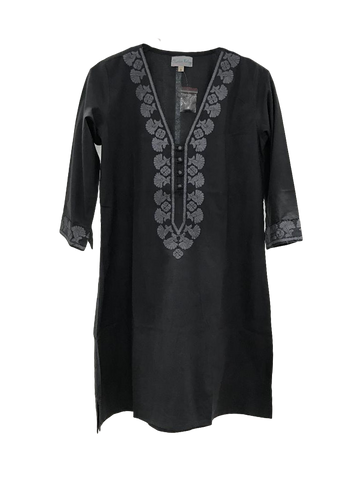 Emily Tunic in Black Cotton